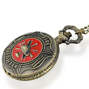 Other - Firefighter Brass-Tone Red Detail Pocket Watch New